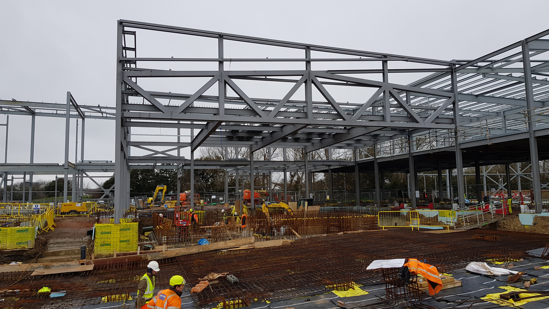 steel superstructure with foundations